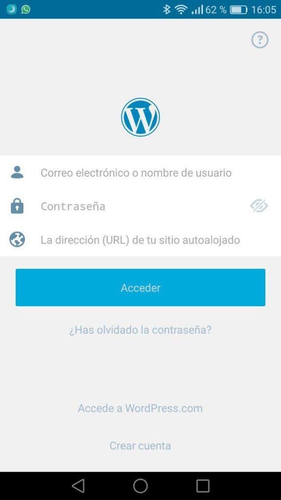 App WordPress mobile - Credenciales
